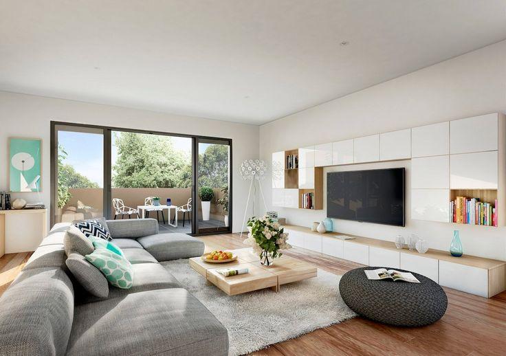Salotto moderno con pareti bianche, divano grigio e pavimenti in legno chiaro. Parete attrezzata sospendata bianco e legno