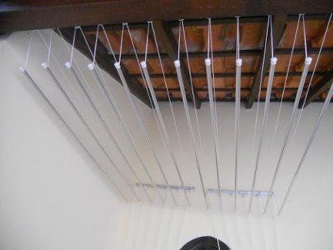 Diy Varal de teto com haste individual/ #organizandoacasa