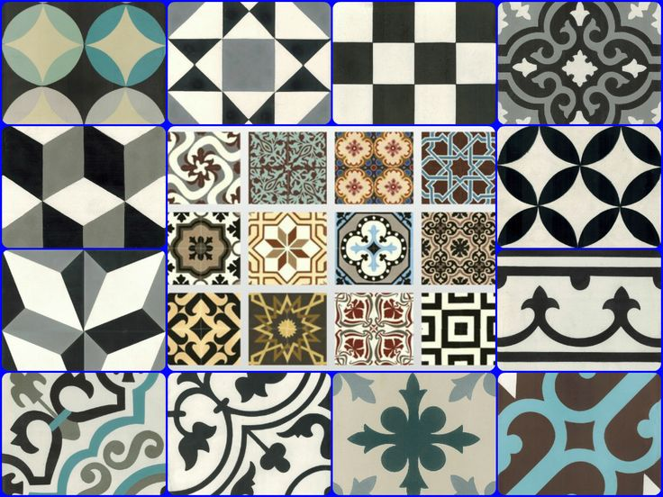 Cement tiles, fashion and design, unic style. One of the best collage