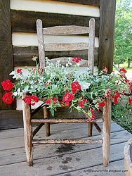 Free Junk Chair Repurposed Into a Garden Planter
