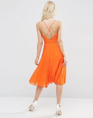 ASOS Strappy Midi Dress with Pleated Skirt