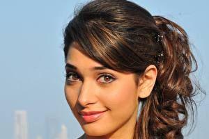 Индийские Глаза Лицо Взгляд Улыбка Брюнетка Волосы Tamanna Знаменитости