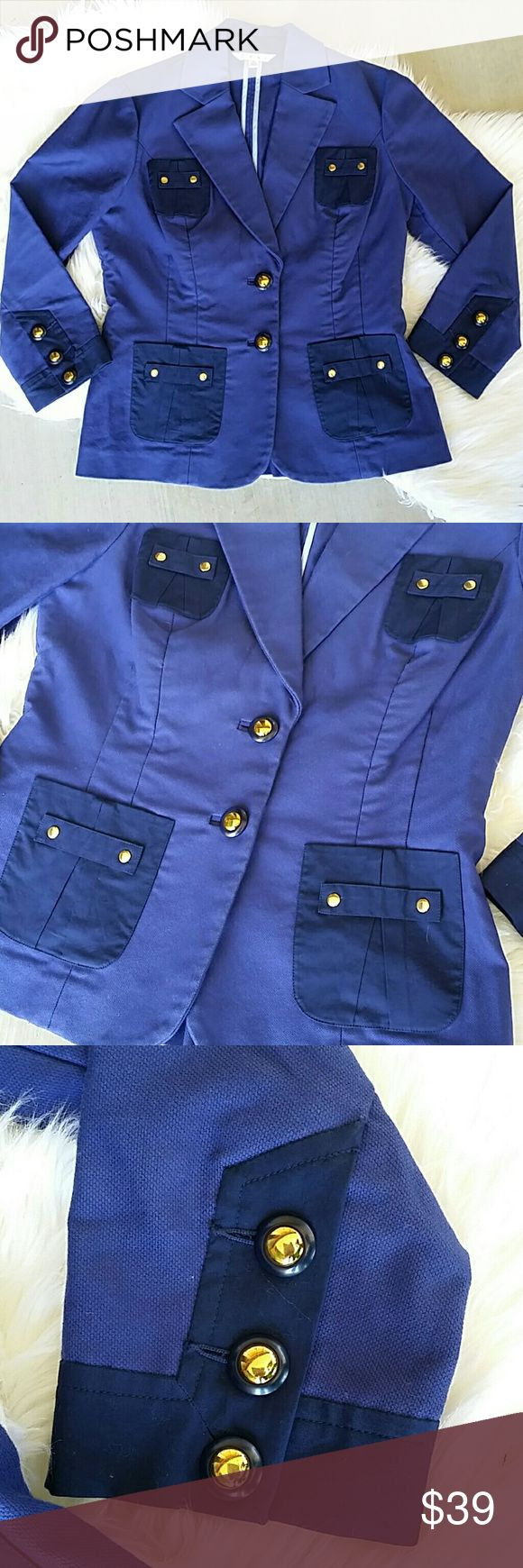 CAbi Blue Blazer Size 4 Bright navy blue with contrast light blue stitching inside. Gold tone button and 4 outer pockets.  Euc very gently worn  No trades I only sell on poshmark I Love offers CAbi Jackets & Coats Blazers