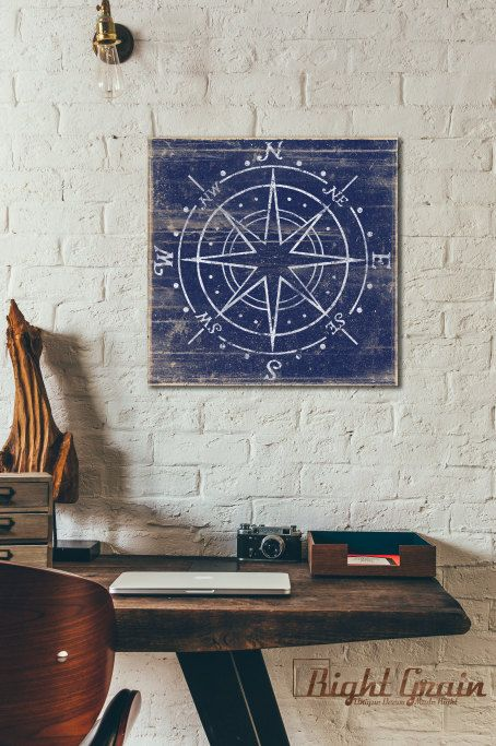 Vintage Compass Print  Distressed Nautical Wall Art  by RightGrain
