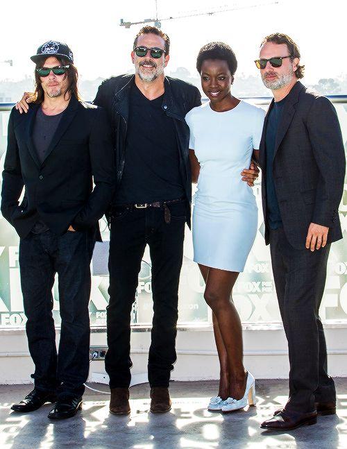 Norman Reedus, Jeffrey Dean Morgan, Danai Gurira, & Andrew Lincoln attend 'The Walking Dead' TV series press line at SDCC 2016