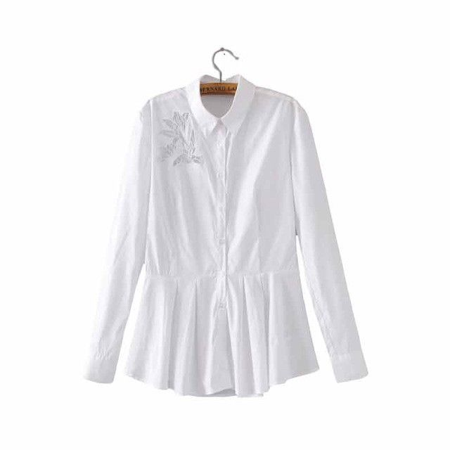 Women elegant lace floral embroidery white long shirts pleated long sleeve office lady sweet cute blouse casual tops