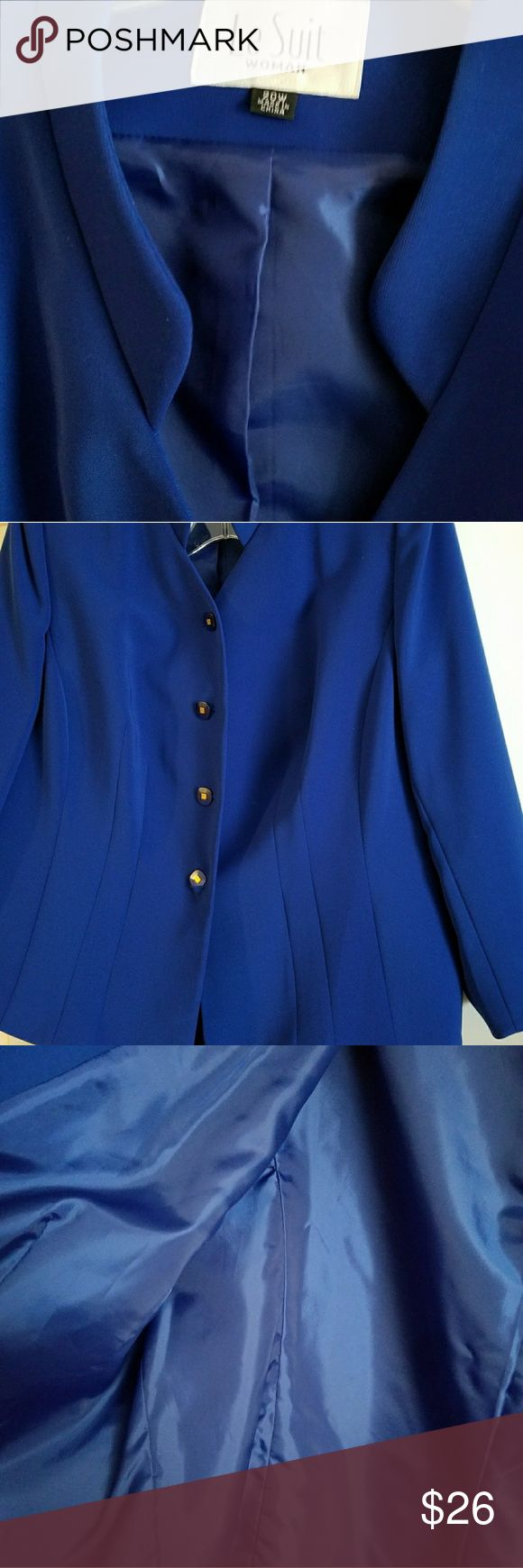 Le Suit cobalt blue jacket only lined  jacket  has 4 bottons 29- in Sleeves 25-in perfect for office,, special occasions. Price is for jacket only. Le Suit Jackets & Coats
