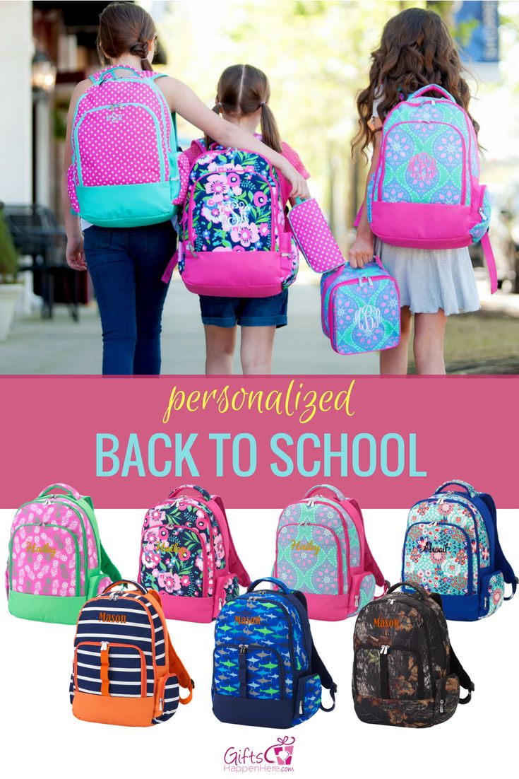 Your go to shop for monogrammed backpacks and personalized back to school essentials for the kids! Shop now at giftshappenhere.com for Monogrammed Backpacks // Personalized Backpacks // Kids Backpacks // School Backpacks // Backpacks for Girls