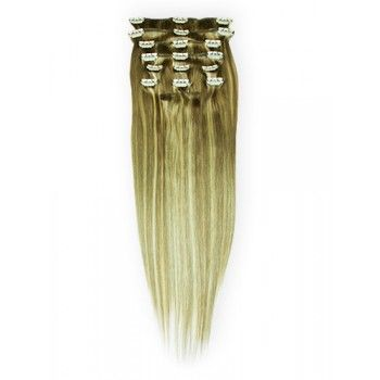 22 inches Blonde Highlight(#18/613) 7 pieces Clip In Human Hair Extension