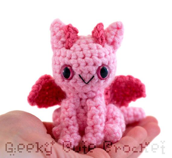 Dragon Amigurumi Crocheted Toy in Pink by GeekyCuteCrochet on Etsy, $16.00