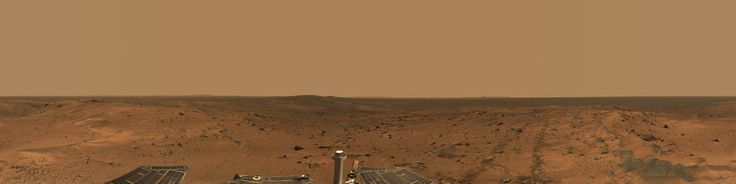"""Martian Landscape Image cortesy of Nasa/JPL - Caltech/Cornell showing the first view of the """"Inner Basin"""" region including the enigmatic """"Home Plate"""" of Mars Planet. Panorama shot by Spirit spacecraft for the Mars Exploration Rover mission."""