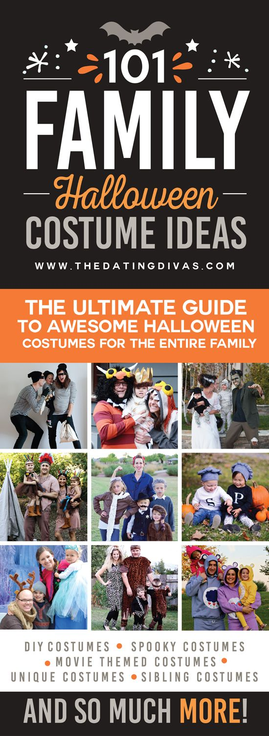 The search for the best family Halloween costume is over! This post has 101 of the most creative (and easy to pull together) family Halloween costume ideas! This Halloween is going to rock! www.TheDatingDivas.com