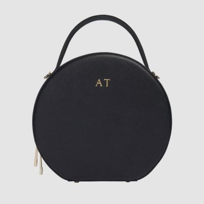 5daa20d15 Black Circle Bag - the cutest companion for everyday errands. Customise  this leather bag with your initials to give it a personalised touch!  perfect for ...