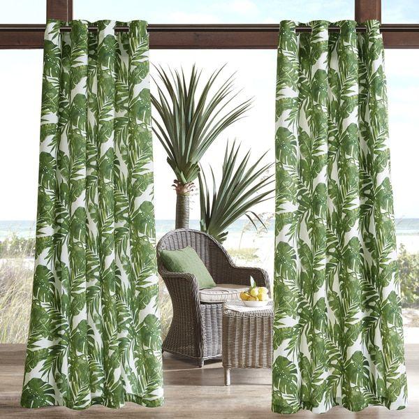 Madison Park Navio Green Printed Palm 3M Scotchgard Outdoor Curtain Panel