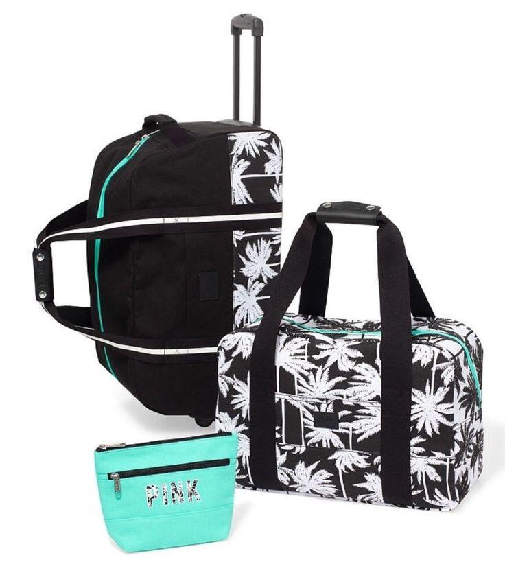 Victoria's Secret Pink 3pc Luggage Set Carry on Black Palms Teal | eBay