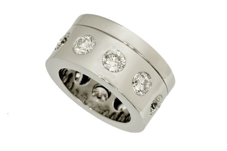 White gold ring set with White Diamonds  www.topiaryandashe.com