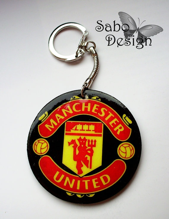 Gift for Him under 20$ - MANCHESTER UNITED Keychain football sport Decoupage by SaboDesign.