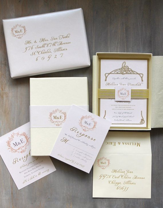 "Luxury Elegant Boxed Wedding Invitations, Gold, White Metallic, Ivory - ""Antique Glitter Box Invitation"" Deposit - NEW LOWER PRICE!"