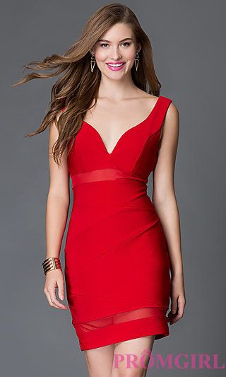 Red Sleeveless Open Back Dress by Emerald Sundae with Sheer Panels at PromGirl.com