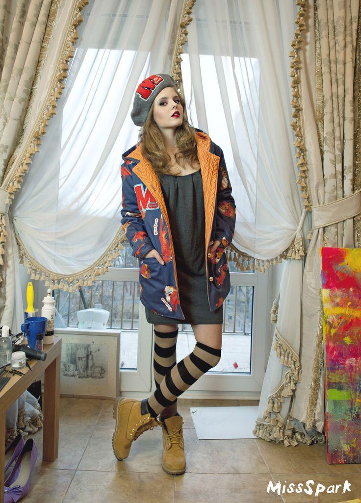MissSpark, Agnieszka Iskierka, Warsaw, Poland, Olga Kalicka, Jacket, Timberland, Cute, Kawaii, Designer, Love, Fox, Foxes, Lis, Beret, Drawings, Paintings, Kurtka, Style, Styling, Fashion