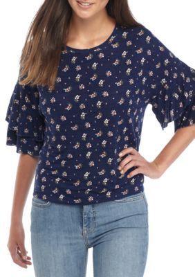 True Craft Girls' Big Flutter Sleeve Top - Navy Ditsy - Xl