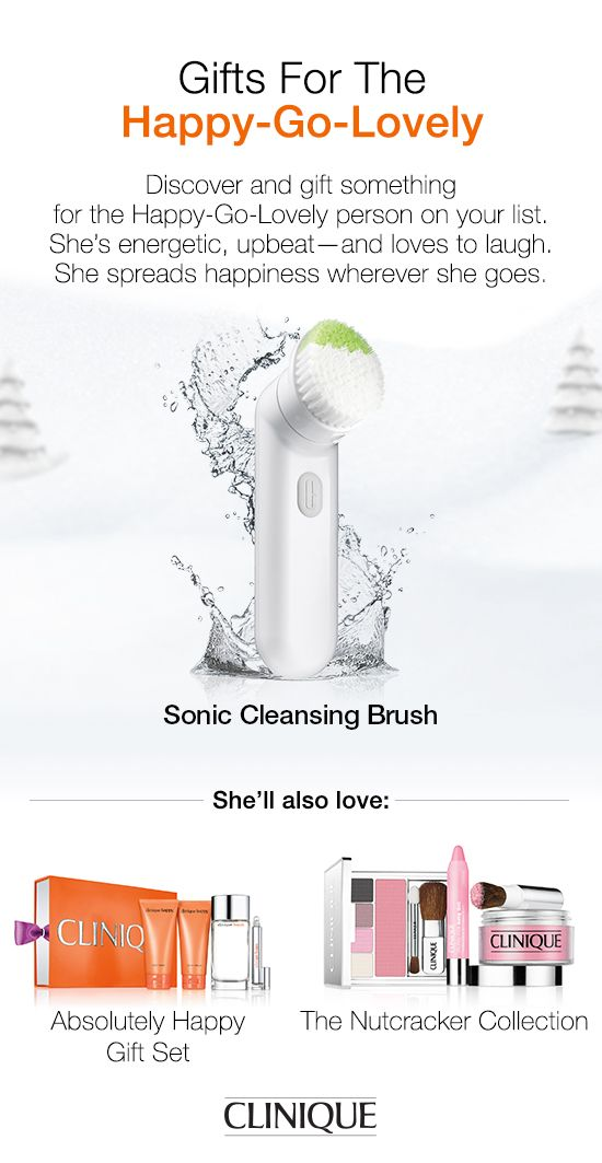 The Happy-Go-Lovely woman on your #holiday list will love #Clinique Sonic Cleansing Brush. Innovative sonic facial cleansing brush that works with your cleanser to create your greatest skin ever. #Beauty #Gift