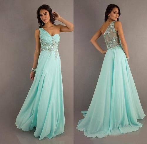 2013 ONE Shoulder Chiffon Prom Formal Party Evening Pageant Dresses Wedding Gown | eBay