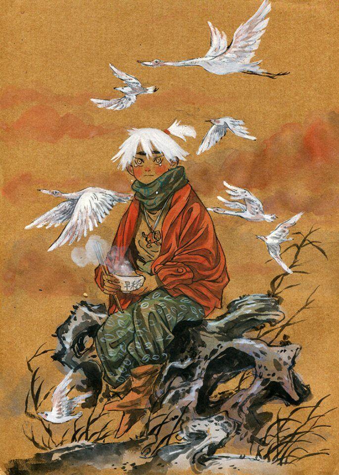 c'est sur tumblr que je suis tombé par hasard sur des illustrations de Zao Dao. Son coup de crayon m'a immédiatement séduite. Ses dessins sont beaux, doux et mystérieux. Il me donnent envie de savoir l'histoire qui se cache derrière.