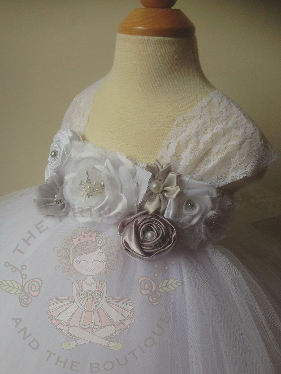 White flower girl dress with a mixture of gray and white flowers. www.theprincessandthebou.etsy.com