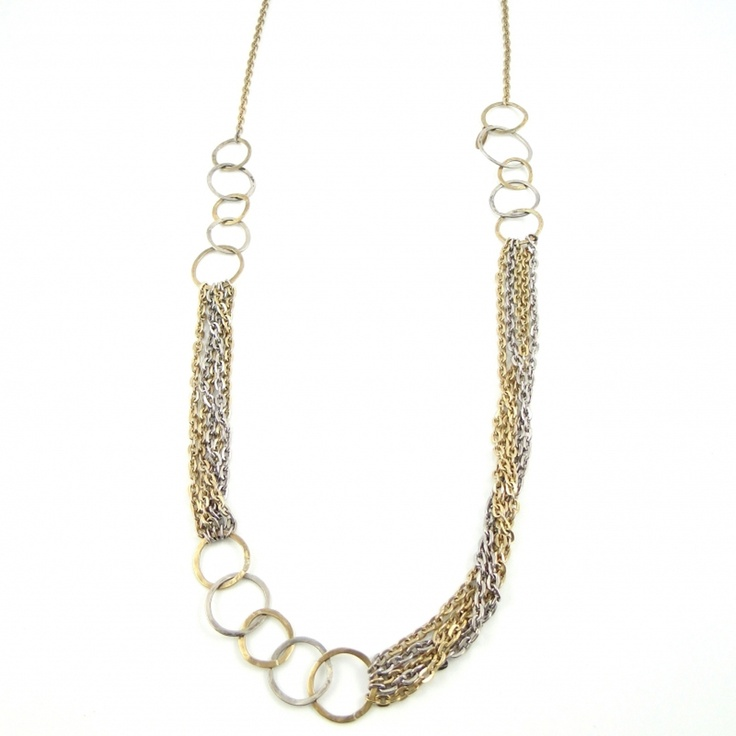 Designer Long Ring Necklace by Beryl Dingemans £76 available exclusively in store at PinstripeandPearls.com - Stunning long ring necklace in bronze and pewter – perfect designer jewellery for work.