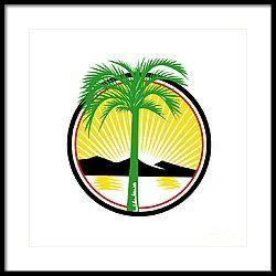 Royal Palm Beach Sea Mountain Retro Framed Print by Aloysius Patrimonio
