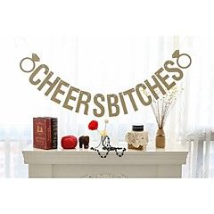 Gold Glittered Cheers Bitches with 2 Rings Bridal Shower Banner Bachelorette Hen Party Decoration