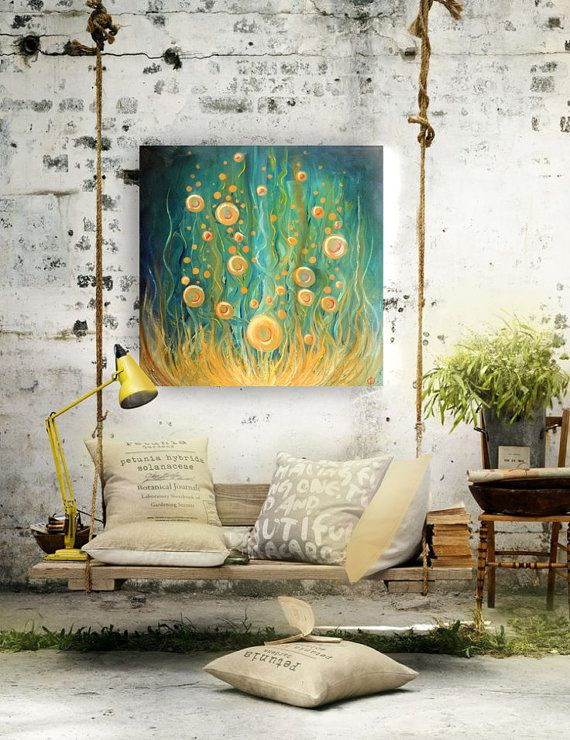 Abstract Modern Oil Painting Anomaly Rising by PaperFinchArt, $350.00