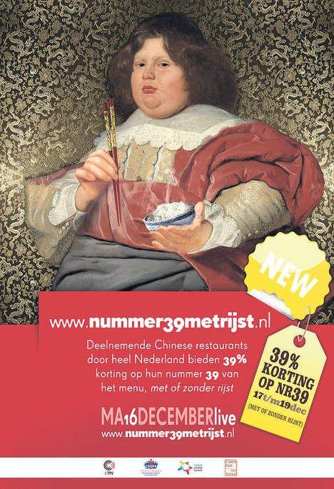 Poster voor de 39% kortingsactie op nummer 39 bij een van de 39 deelnemende restaurants door Minus Huynh. Het ontwerp is geïnspireerd op het schilderij van Bartholomeus van der Helst; Andriesz Bicker, https://www.rijksmuseum.nl/en/rijksstudio/33208--minus-huynh/creations/e1615b52-75e8-439d-94d0-c24cc6a7a8f6