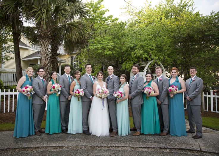 Bridal Party Photos - teal dresses and grey suits - pink bouquets- Charleston Crafted