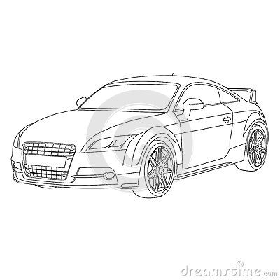 Illustration car with spoiler and custom rim
