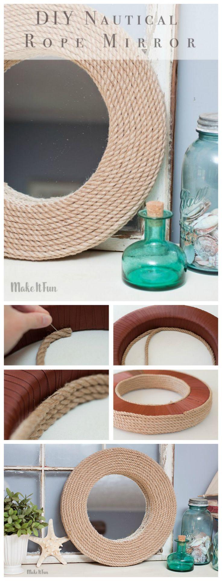 Create a DIY custom mirror for the house with a Nautical decor twist.
