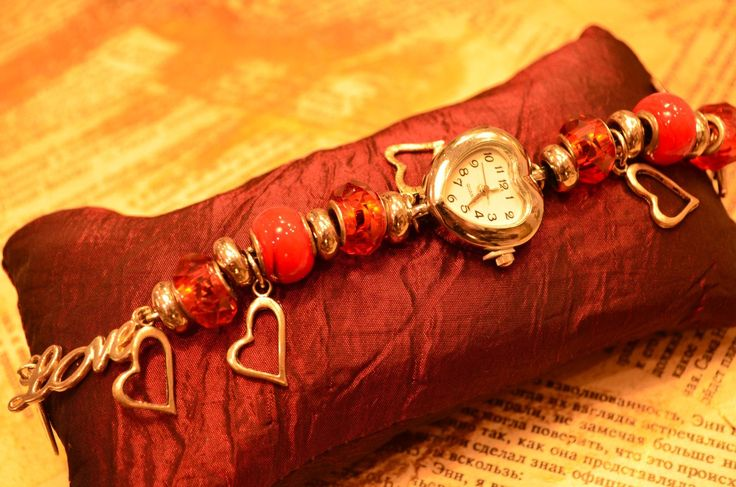 часы, любовь, сердце, сердечки, Пандора, ручная работа, сборка, handmade