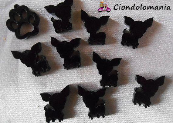 No. 9 pendants chihuahua  n. 1 ormetta black by Ciondolomania