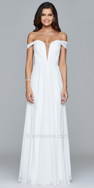 Faviana Lace Up Back Off the Shoulder Chiffon Evening Dress at eDressMe #affiliatelink