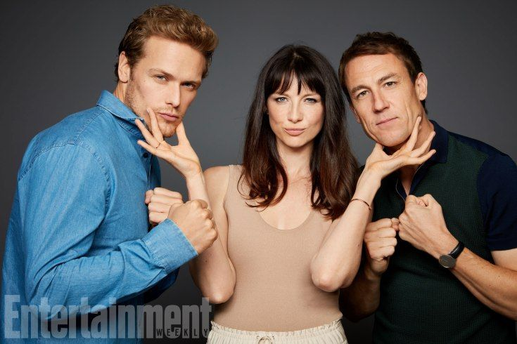 Sam Heughan, Caitriona Balfe, and Tobias Menzies