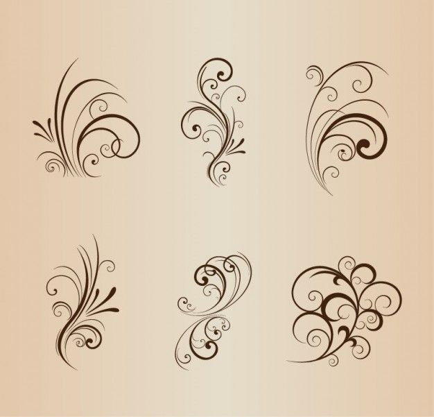 Floral swirls design elements
