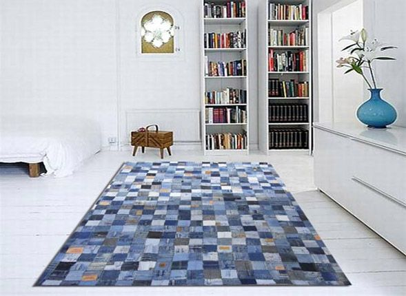 This area rug is made from recycled jeans