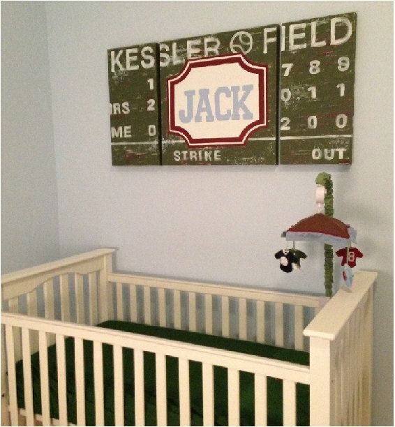 Large Modern Nursery Art Personalized Triptych Painting Name Monogram Initials Vintage Scoreboardsports Football