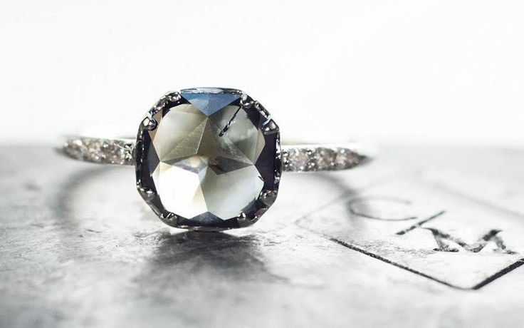 1.05 Carat Smoky Grey Translucent Diamond Ring in White Gold - CHINCHAR•MALONEY