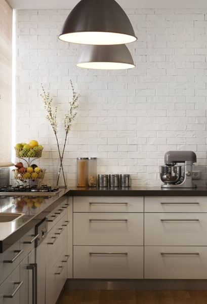 A good example of a kitchen without overhead cabinets. Like the handles too