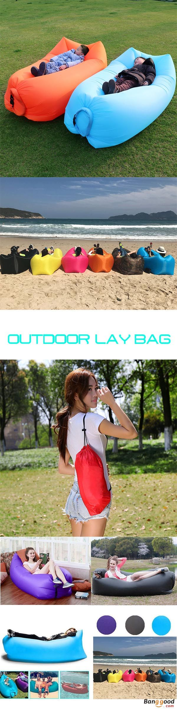 US$15.99 + Free shipping. Outdoor sleeping bag, travel lazy sofa, fast air inflatable sleeping bed,  camping beach lounger lay bag, air sofa. Flat Size: 250 x 75cm/98.4 x 29.5inch.  Inflatable Size: 190 x 70 x 50cm/74.8 x 27.5 x 19.6inch. Storage Size: 39 x 17cm/15 x 6inch. Max Load Bearing	Approx.300kg. 10 Colors to Match Your Style.