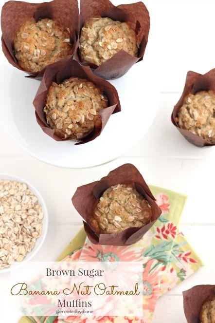 Brown Sugar Banana Nut Oatmeal Muffins @createdbydiane