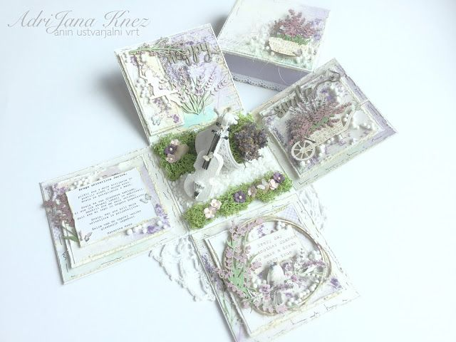 Exploding box for the teacher with beautiful Scrapiniec Chipboard, Lavender and white Violin