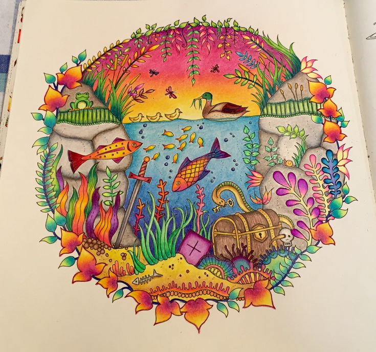 Underwater Page From Enchanted Forest Prismacolor Pencils And Some Gel Pens